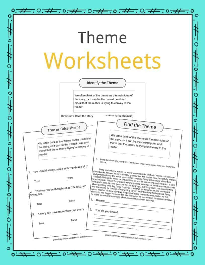 Theme Worksheet Middle School theme Worksheets Examples & Description for Kids