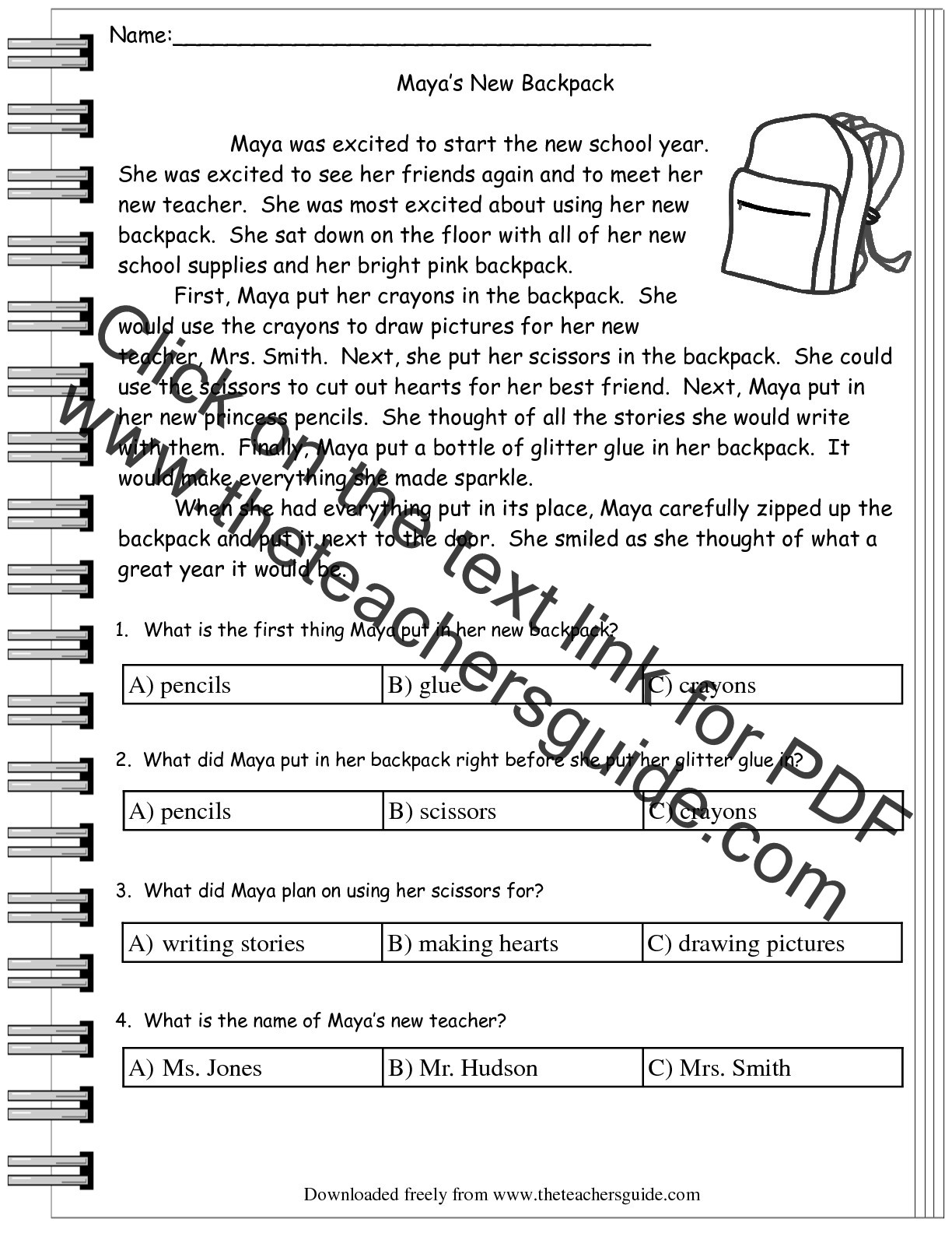 Theme Worksheets 5th Grade Prehension Stories