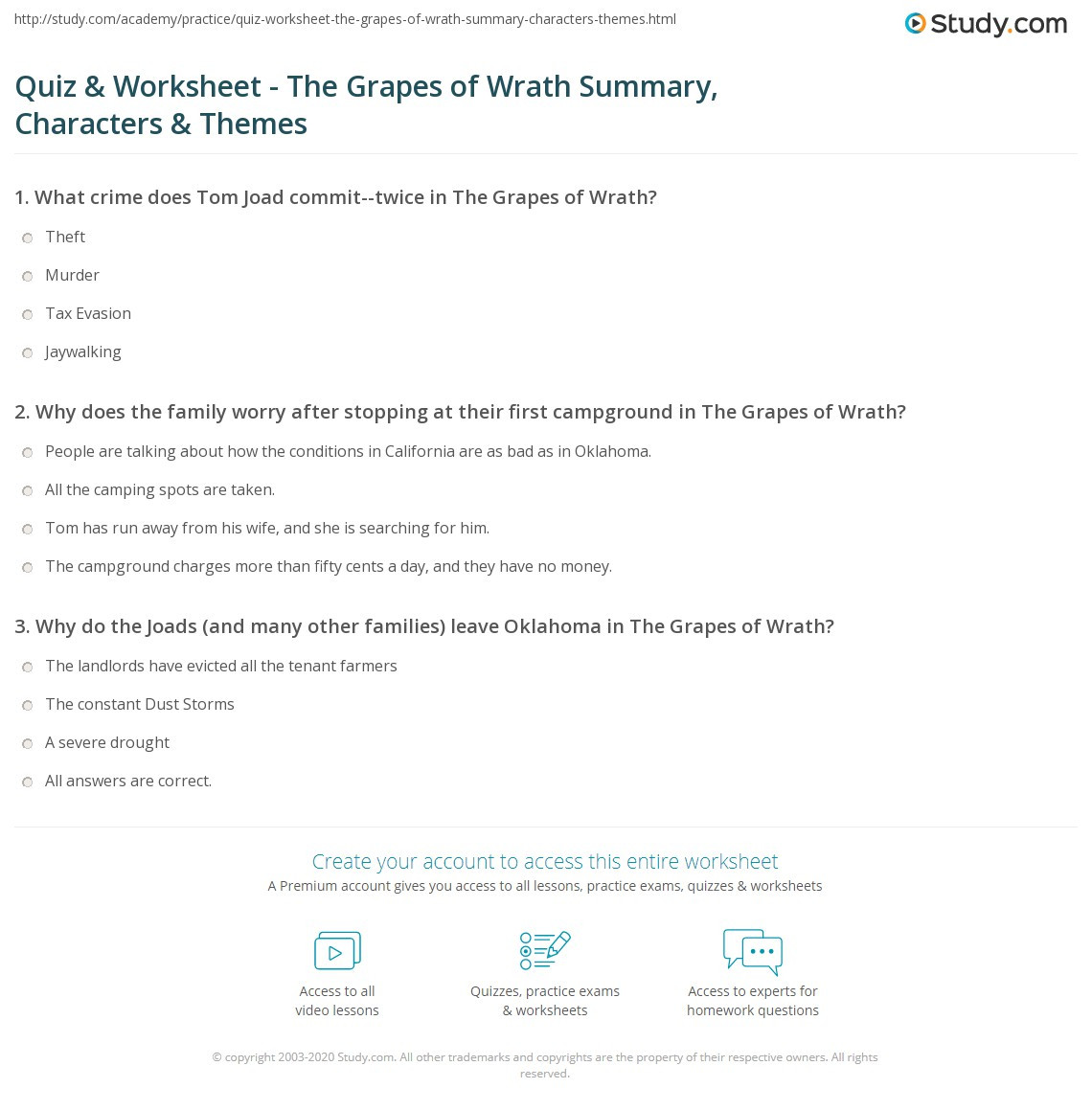 Theme Worksheets 5th Grade Quiz Worksheet the Grapes Wrath Summary Characters