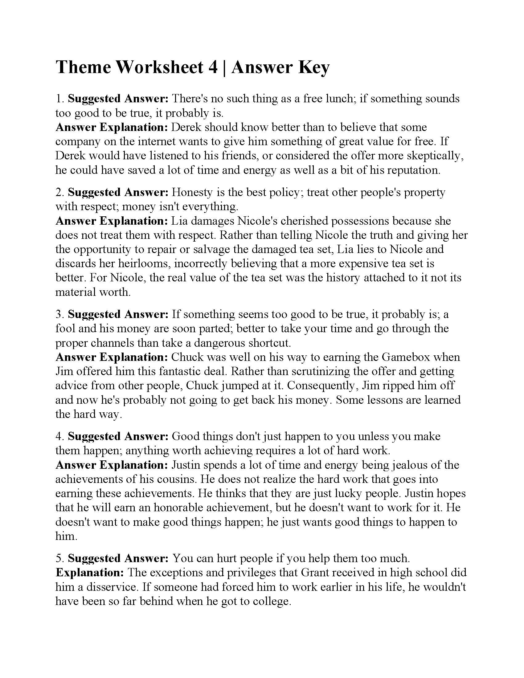 Theme Worksheets 5th Grade theme Worksheet 4