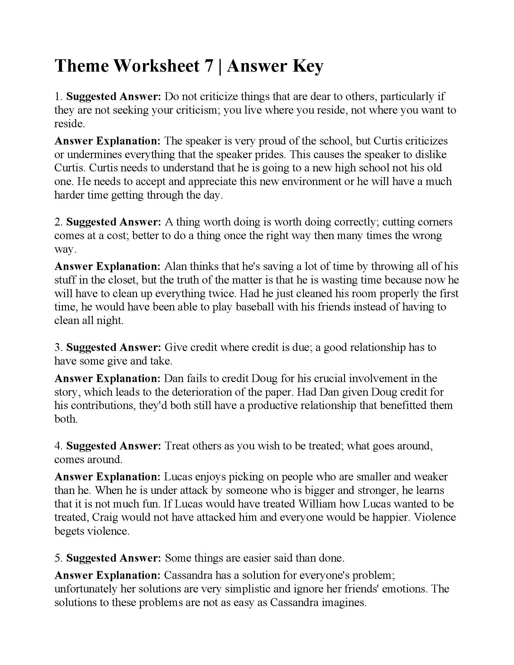 Theme Worksheets 5th Grade theme Worksheet 7