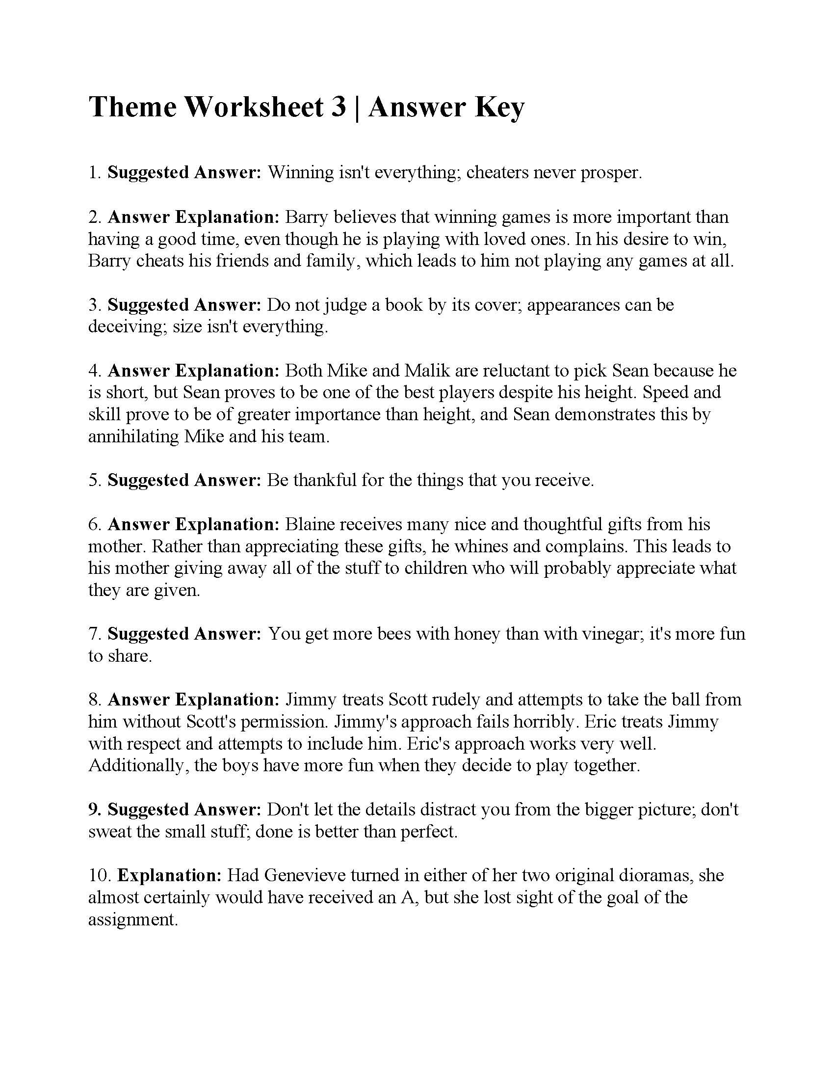 Theme Worksheets 5th Grade theme Worksheet Answers Ereading Worksheets Math Magnets