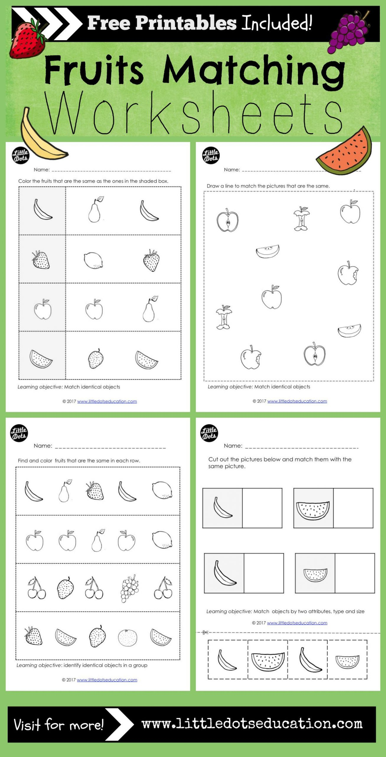 Theme Worksheets for Middle School Preschool Fruits theme Matching Worksheets and Activities