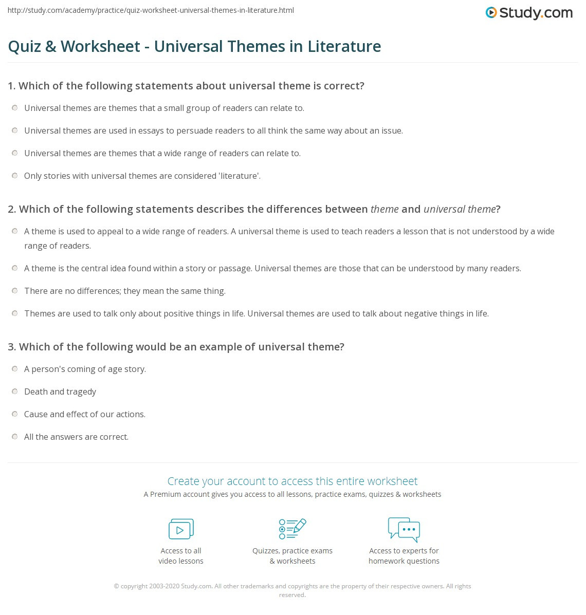 Theme Worksheets for Middle School Quiz & Worksheet Universal themes In Literature