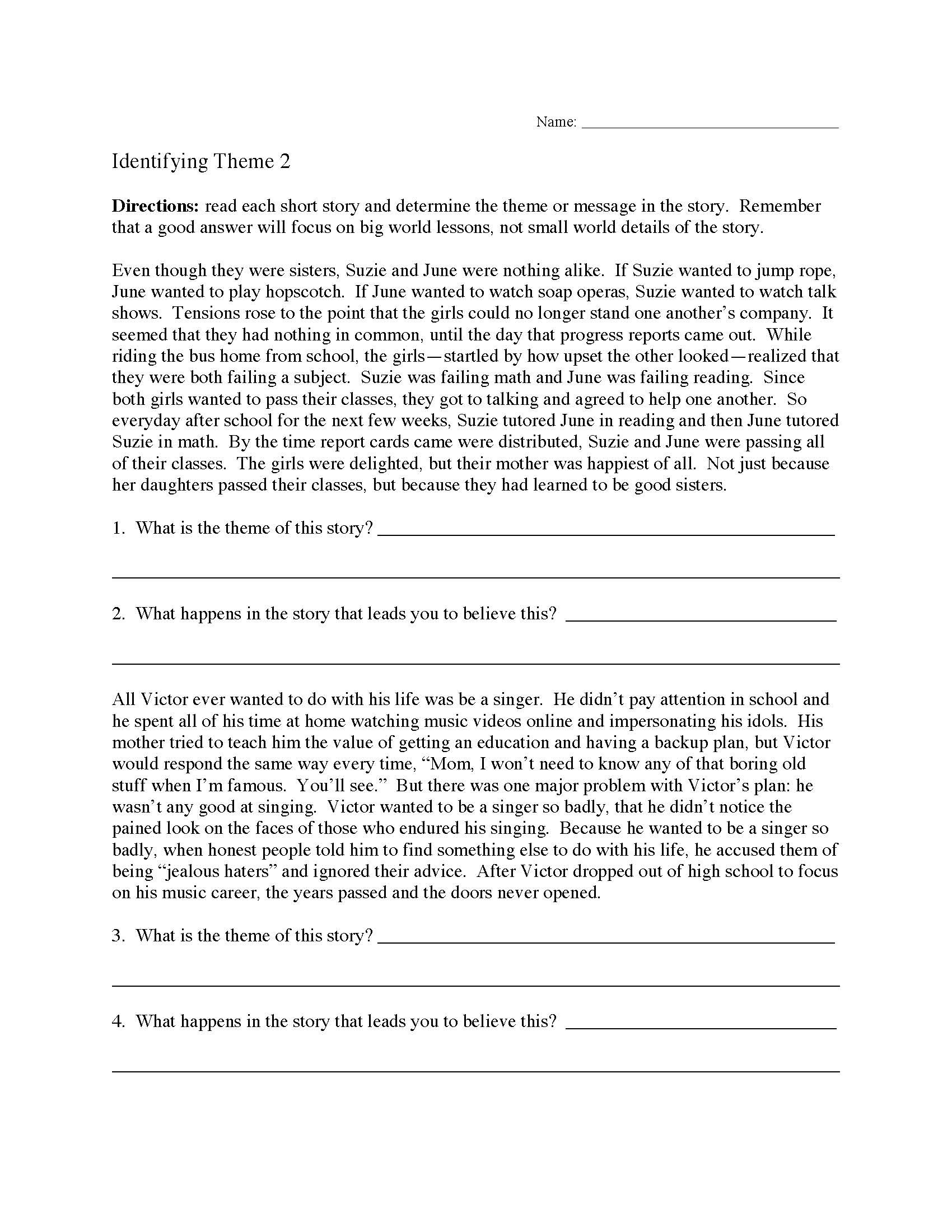 Theme Worksheets High School theme or Author S Message Worksheets
