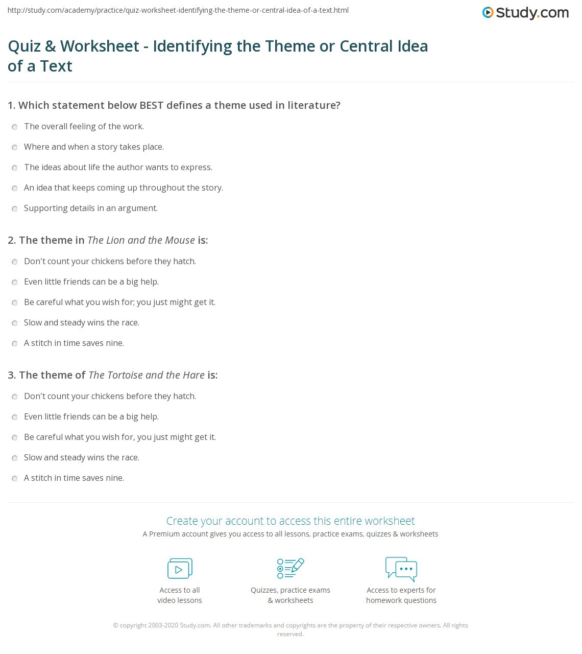Theme Worksheets Middle School Quiz & Worksheet Identifying the theme or Central Idea Of