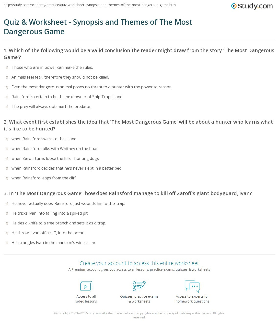 Theme Worksheets Middle School Quiz & Worksheet Synopsis and themes Of the Most Dangerous