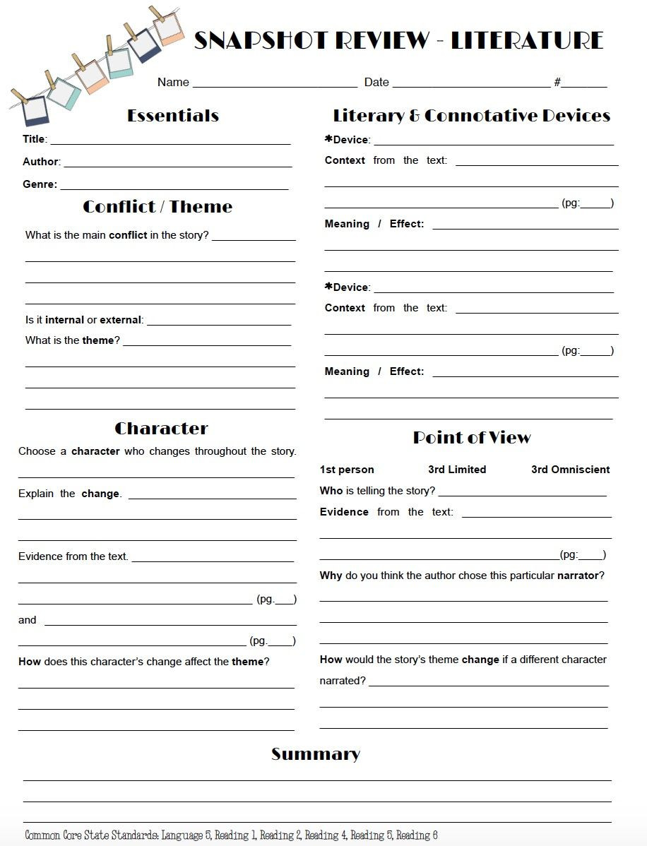 Theme Worksheets Middle School Review Literature In A Snap with This One Page Worksheet