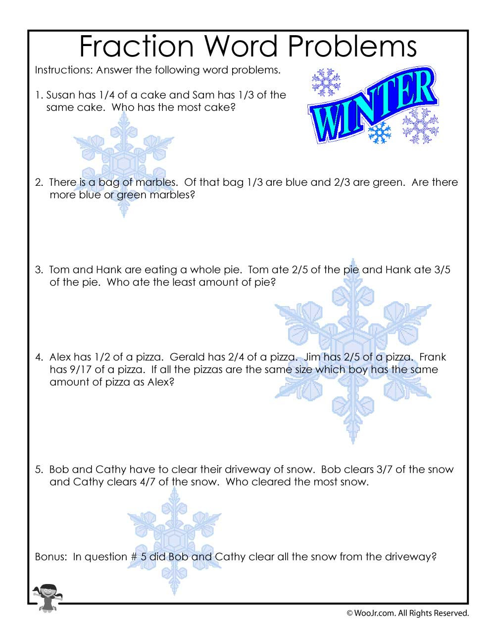 Third Grade Fraction Word Problems 3rd Grade Fractions Math Worksheet