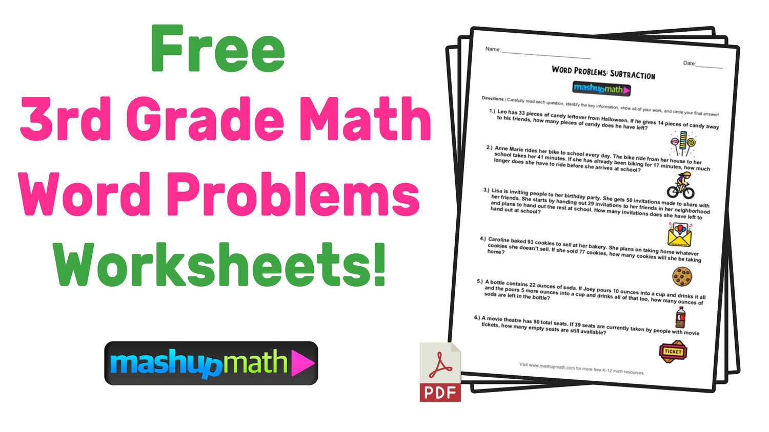 Third Grade Fraction Word Problems 3rd Grade Math Word Problems Free Worksheets with Answers