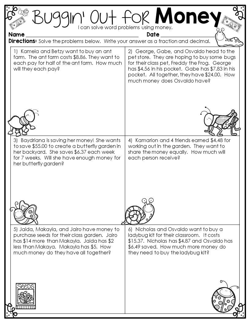 Third Grade Fraction Word Problems 4th Grade Math Word Problems