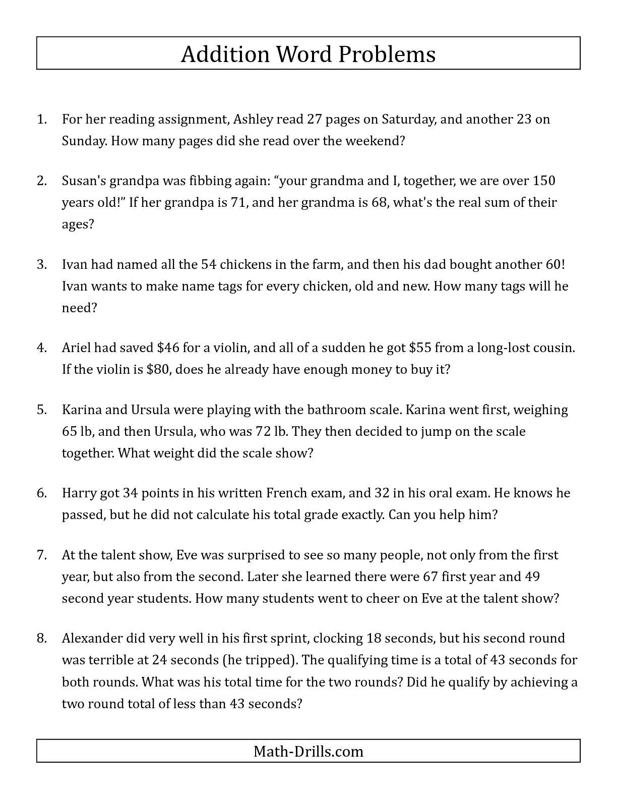 Third Grade Fraction Word Problems Third Grade Math Word Problems Worksheets