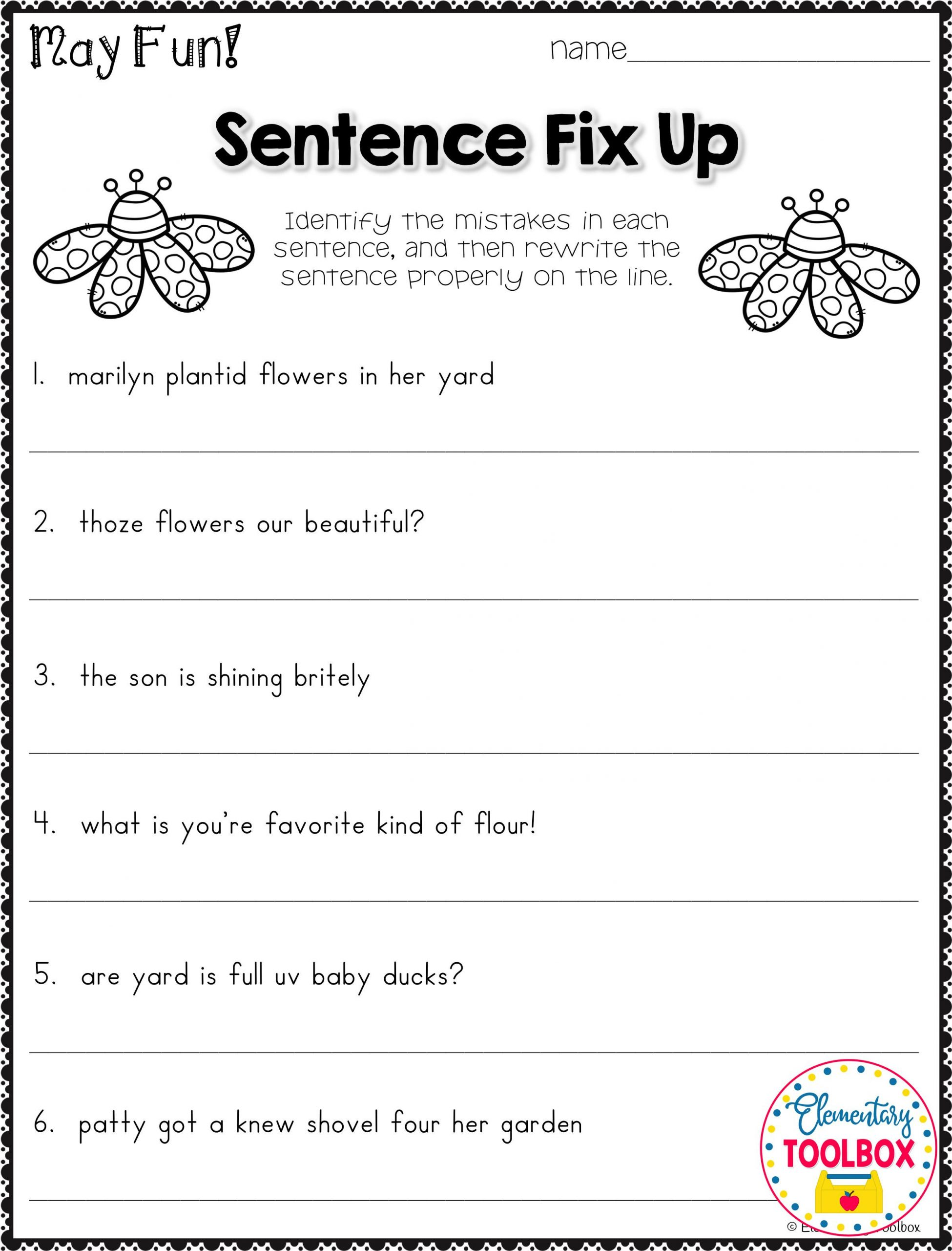 Third Grade Grammar Worksheet Grammar Worksheet for May 2nd & 3rd Grade