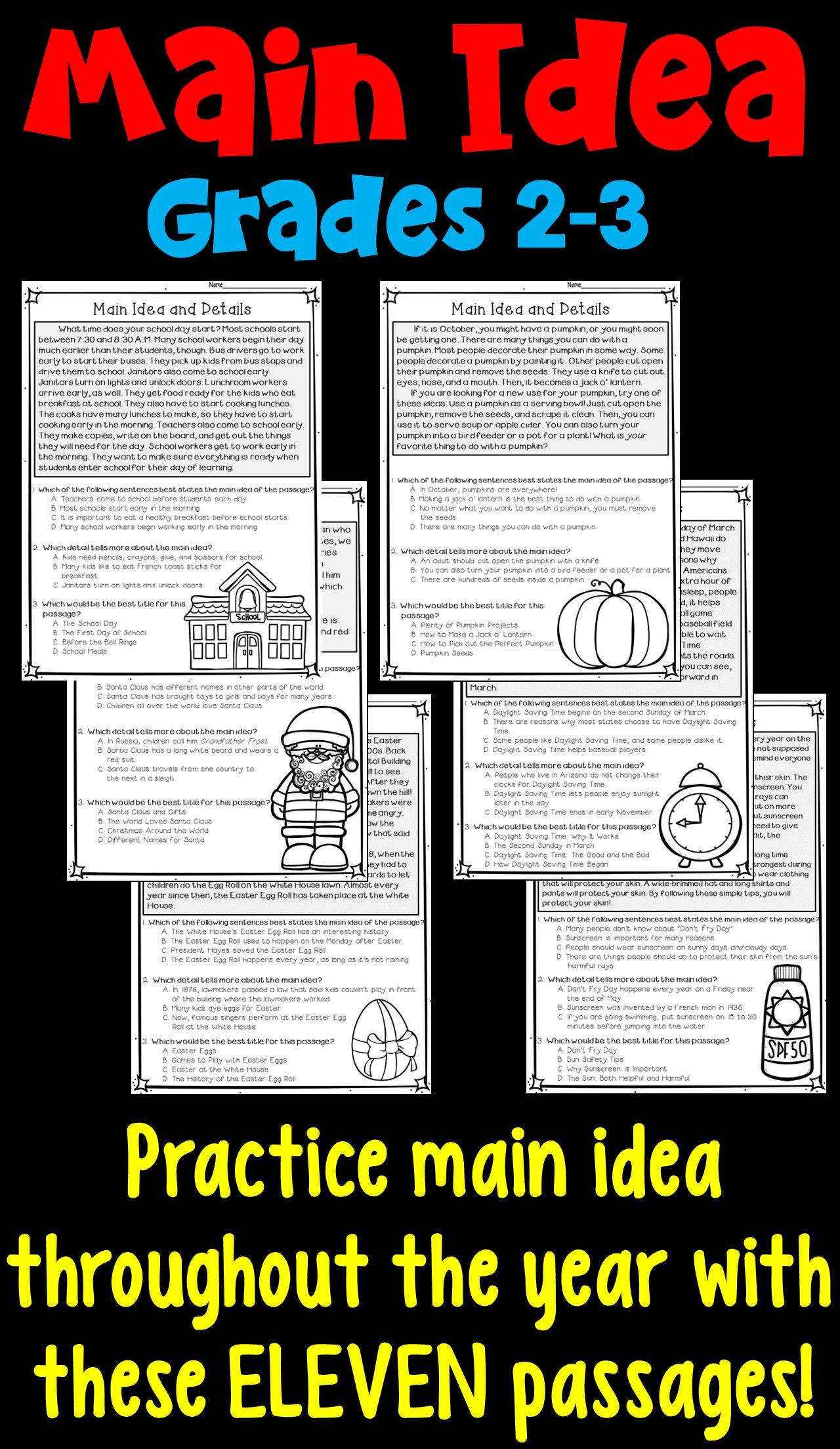 Third Grade Main Idea Worksheets Main Idea and Supporting Details 11 Monthly Worksheets