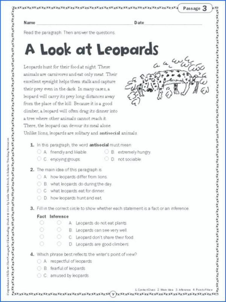 Third Grade Main Idea Worksheets Main Idea Worksheets 5th Grade for Printable Math 696x928