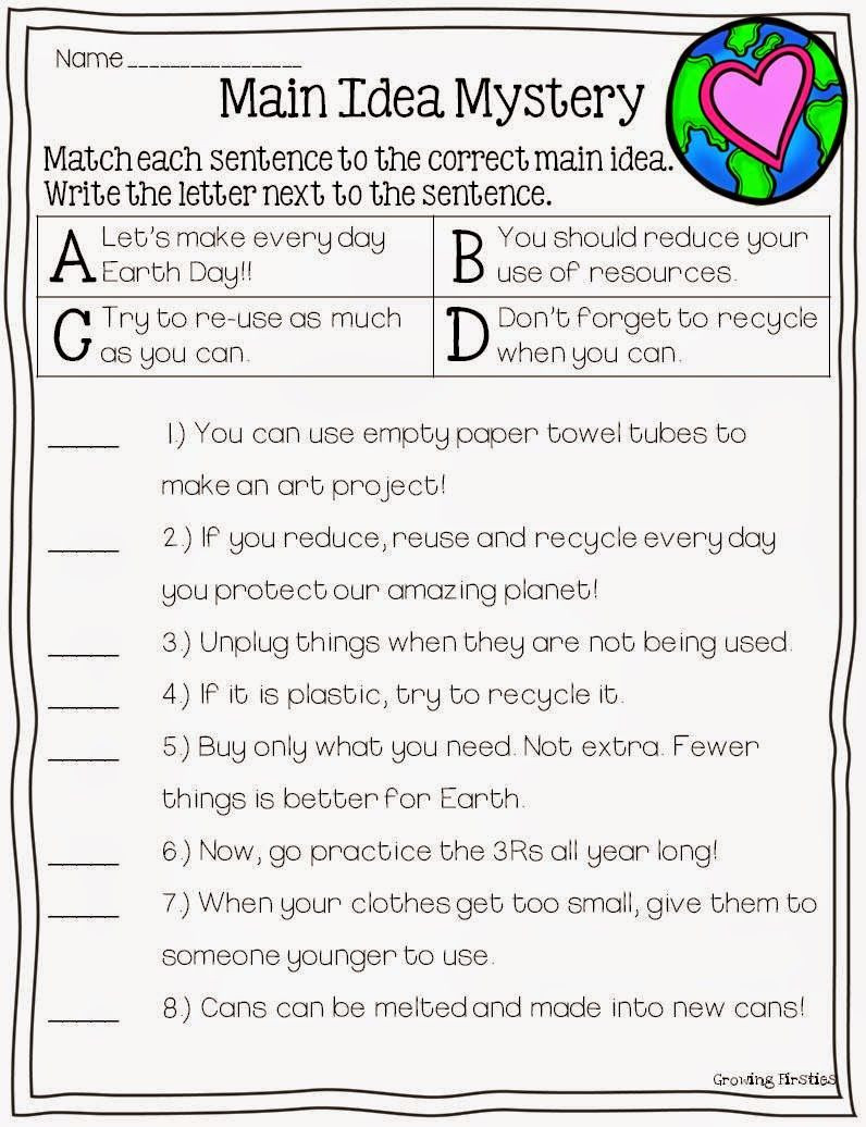 Third Grade Main Idea Worksheets Mon Core Crunch April