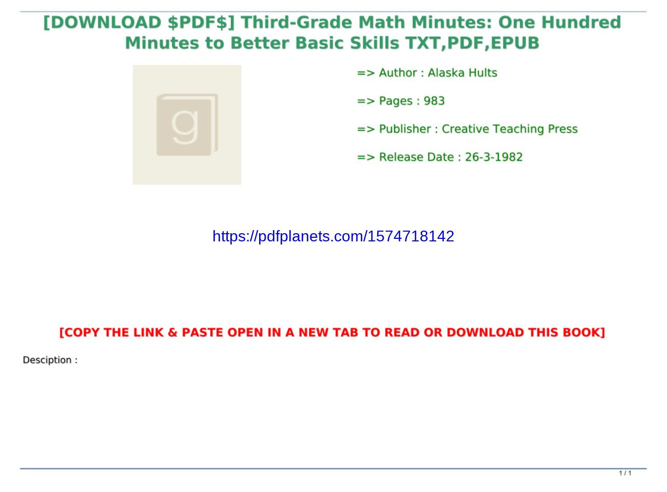 Third Grade Math Minutes Pdf Download $pdf$] Third Grade Math Minutes E Hundred