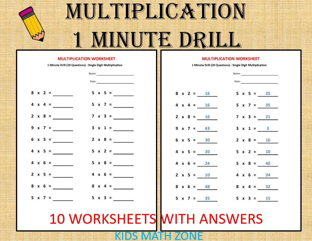 Third Grade Math Minutes Pdf Multiplication 1 Minute Drill H 10 Math Worksheets with