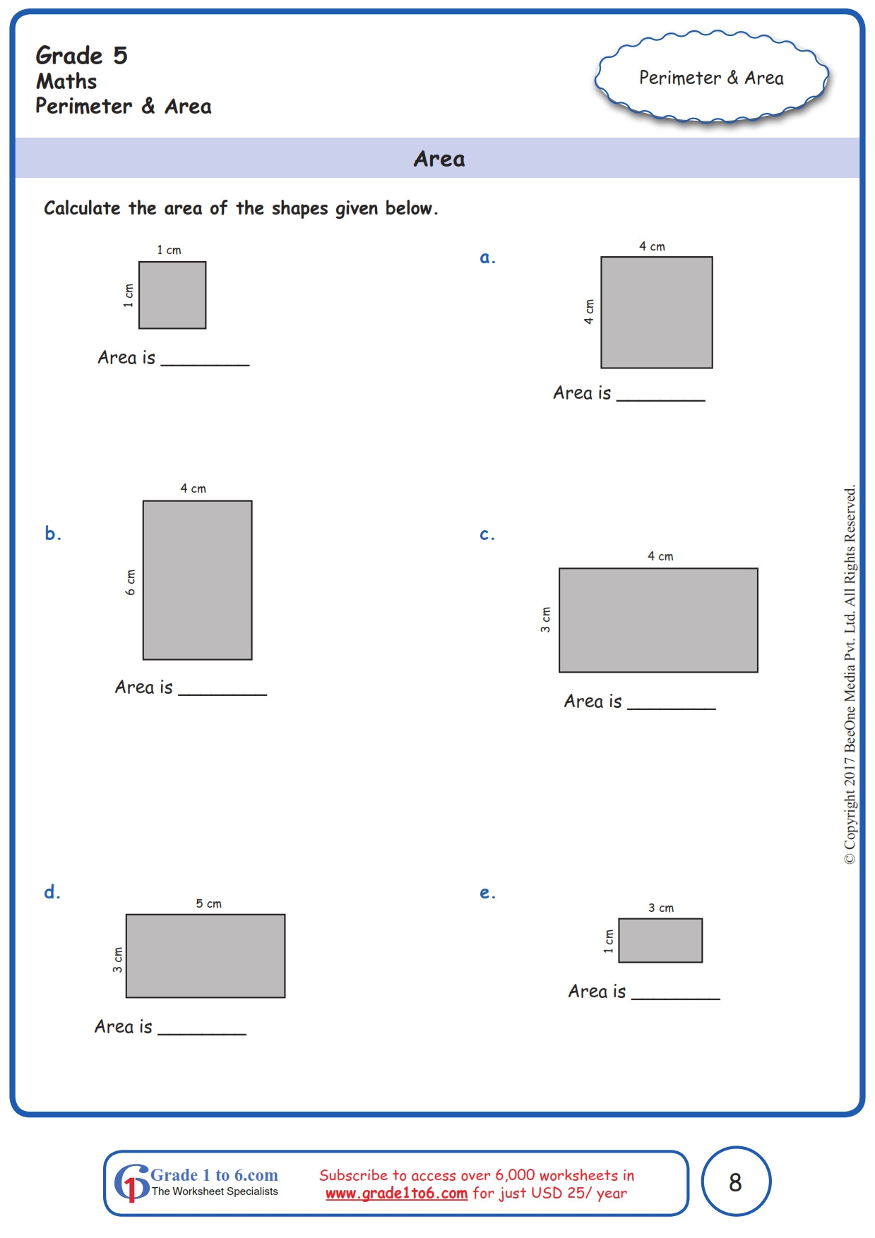Third Grade Perimeter Worksheets Free Perimeter and area Worksheets Grade 5