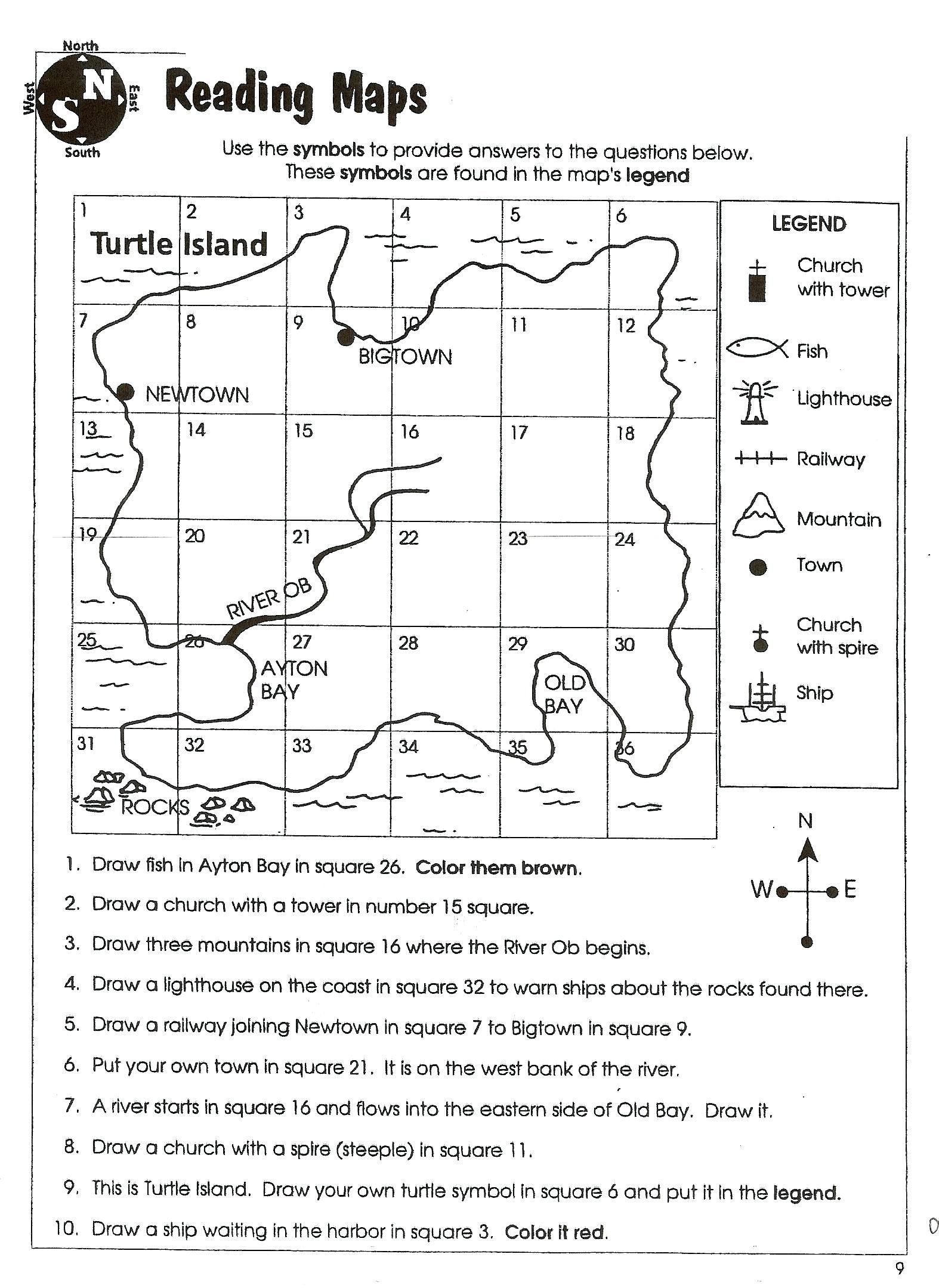 Third Grade social Studies Worksheets Worksheet Map Skills Worksheets 2nd Grade Prehension