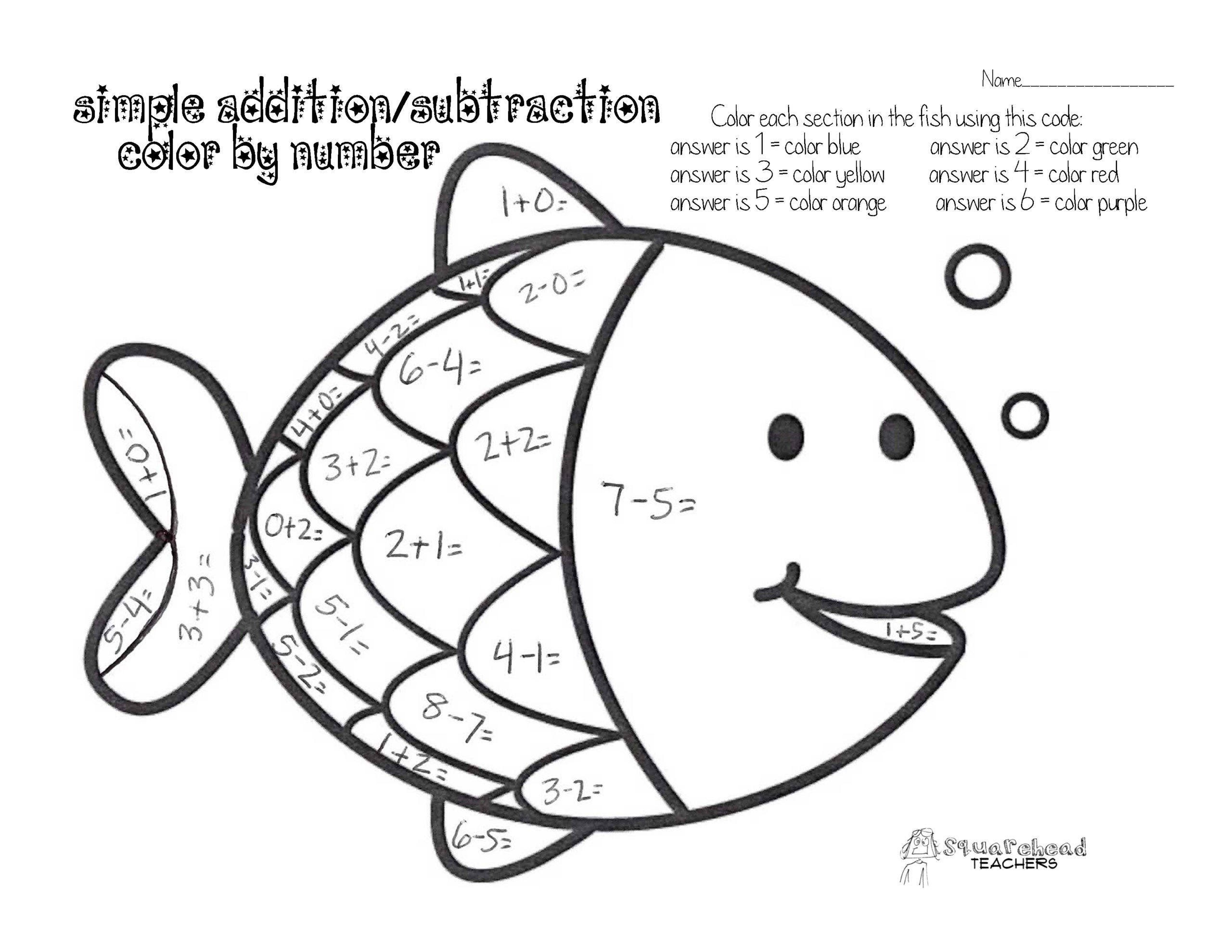 Timeline Worksheets for 1st Grade Color by Number Simple Addition Subtraction Squarehead