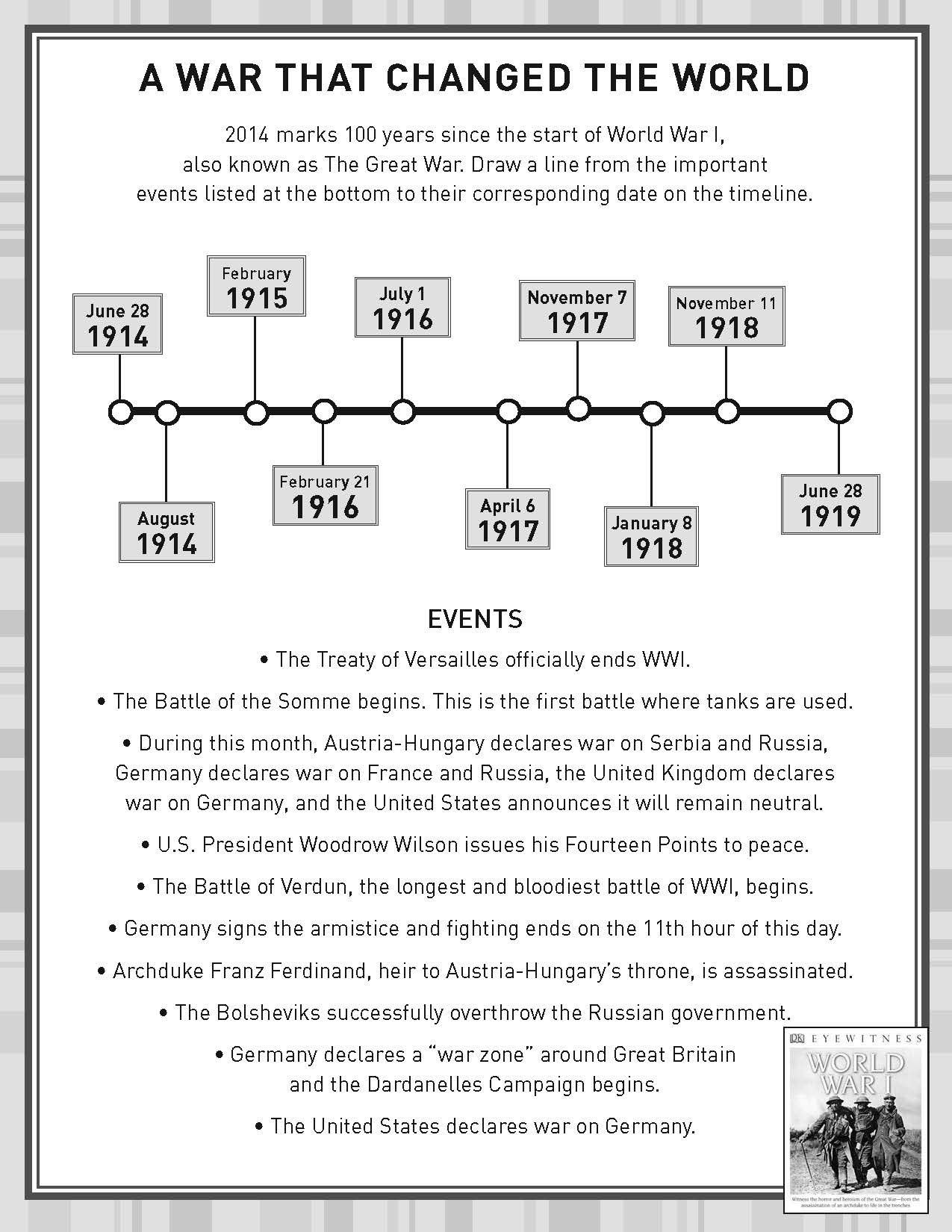 Timeline Worksheets for Middle School Activity Sheet World War I History Wwi