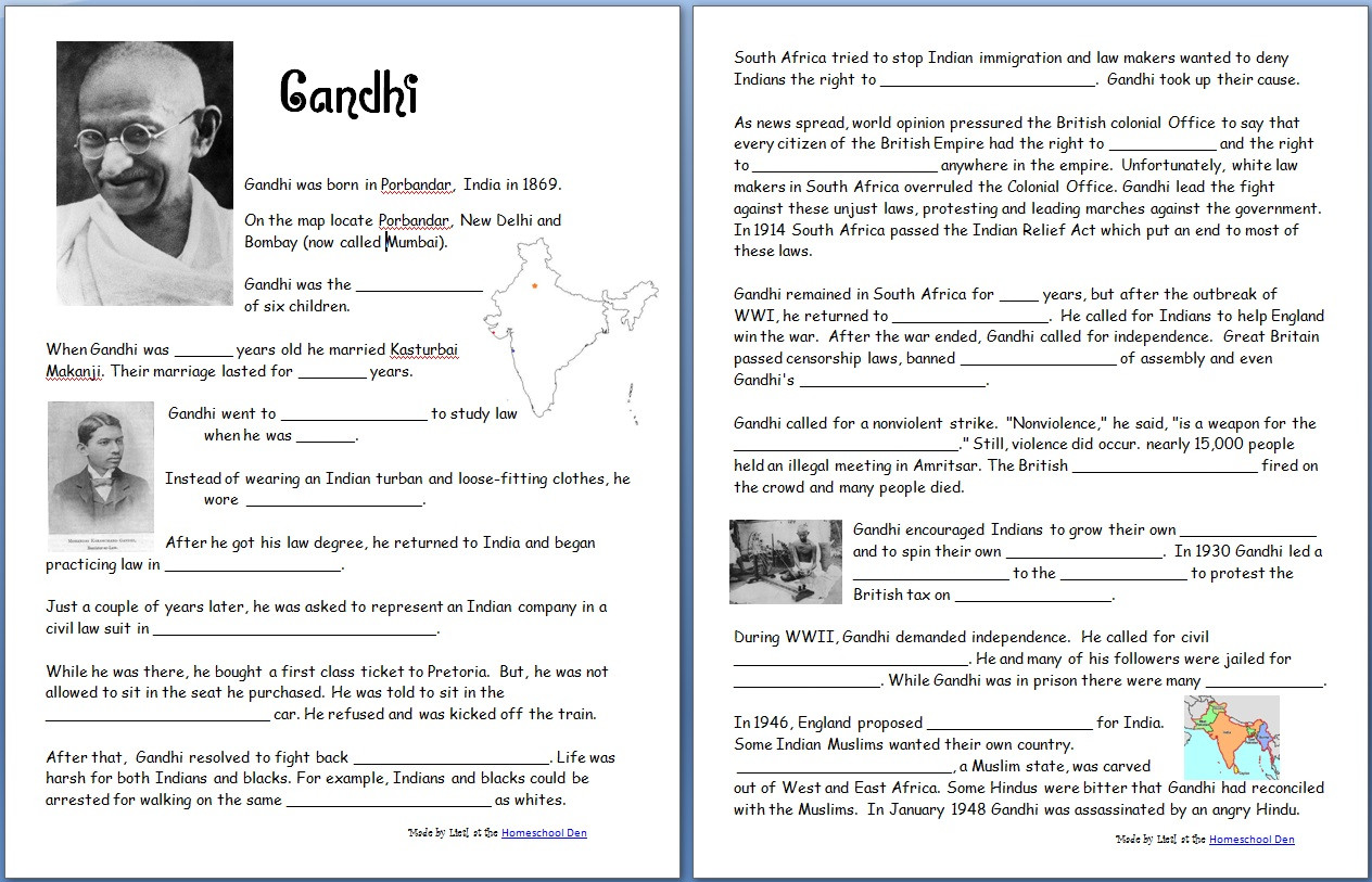 Timeline Worksheets for Middle School Gandhi Free Worksheets Notebook Pages Homeschool