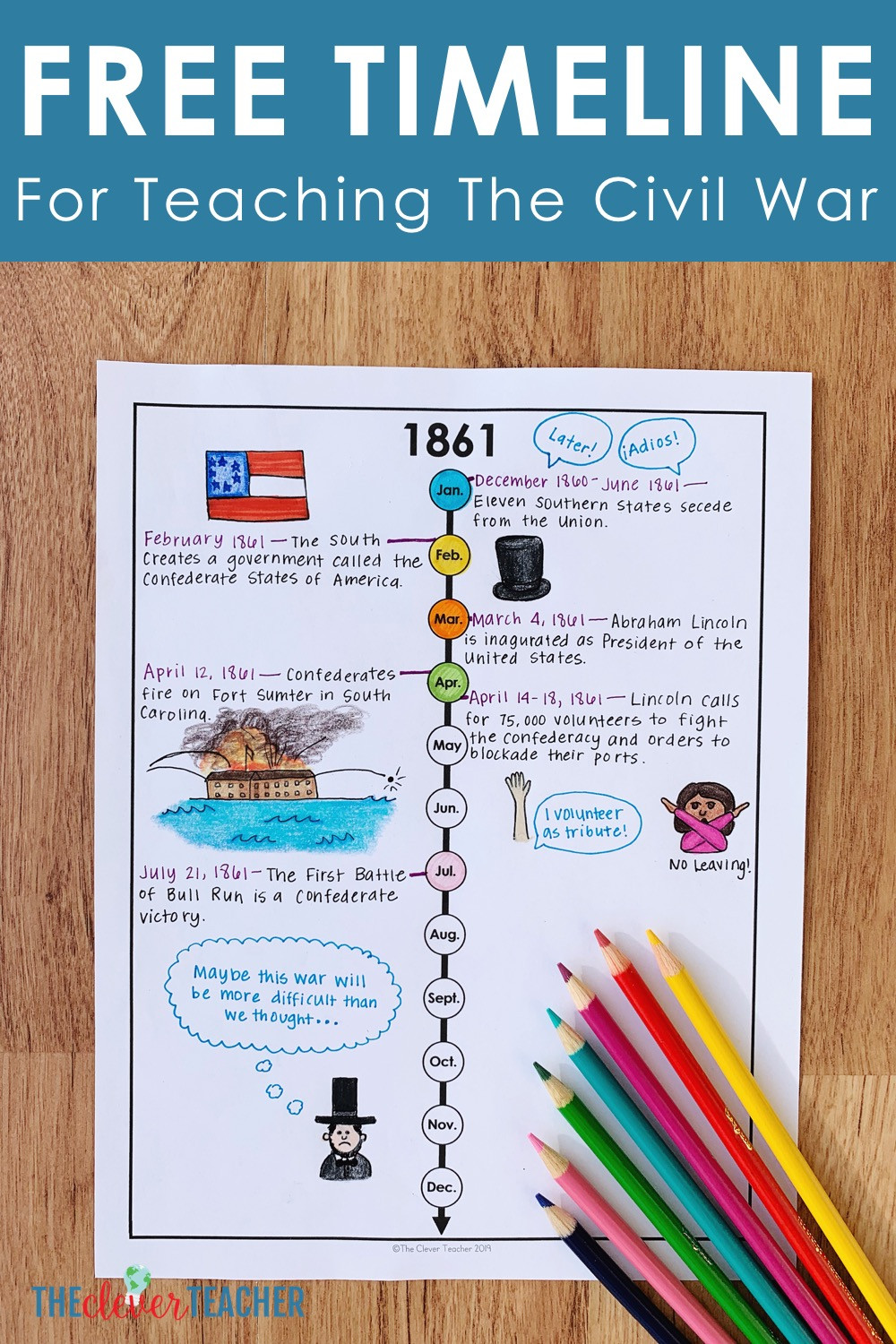Timeline Worksheets for Middle School How to Teach the Civil War with Timelines Free Worksheet