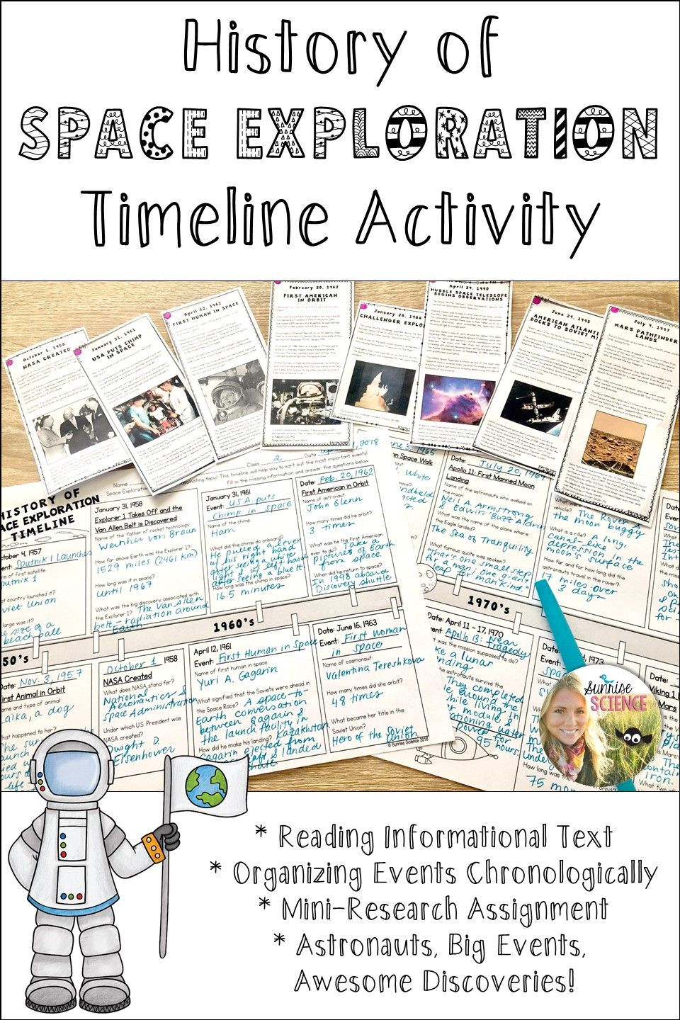 Timeline Worksheets for Middle School Space Exploration History Timeline Activity