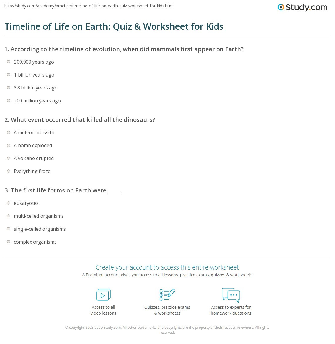 Timeline Worksheets for Middle School Timeline Of Life On Earth Quiz & Worksheet for Kids