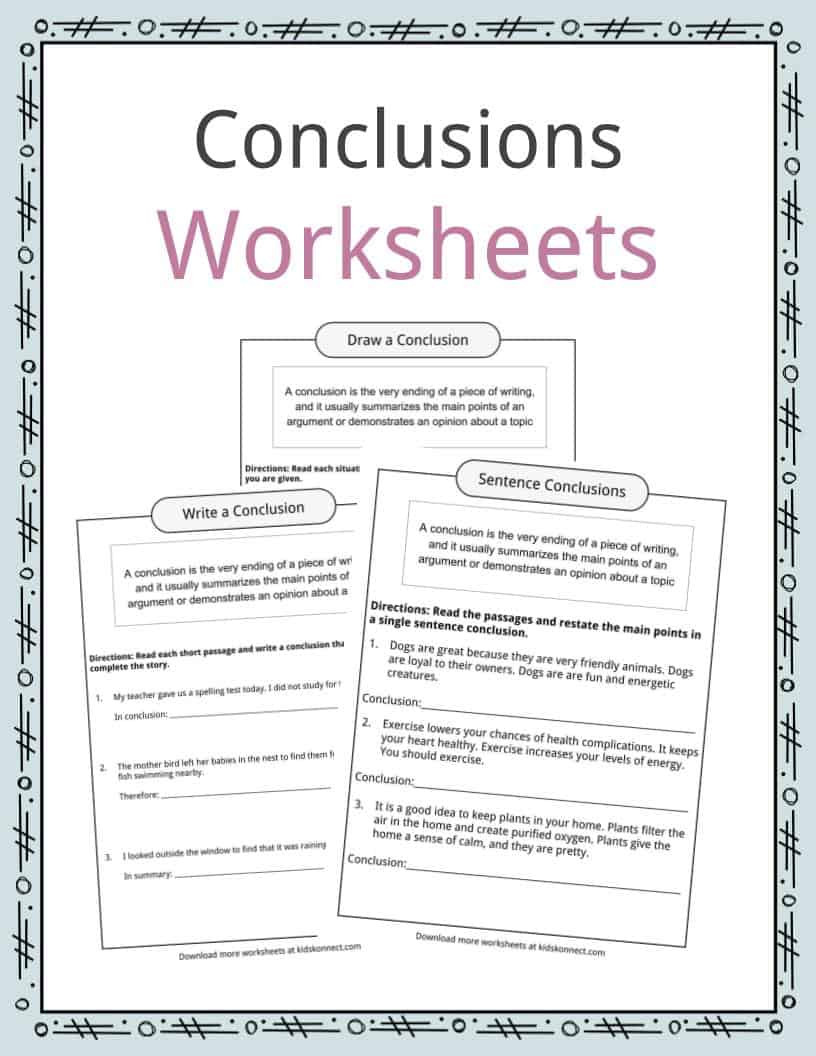 Topic Sentence Worksheets 4th Grade Conclusion Worksheets Examples Definition & Meaning for Kids