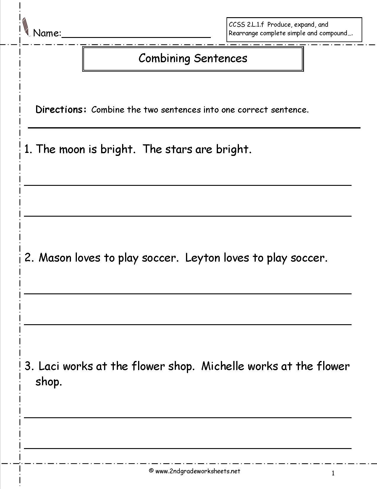Topic Sentences Worksheets 3rd Grade Bining Sentences Worksheet
