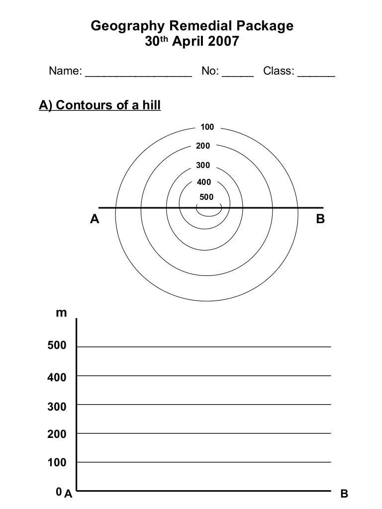 Topographic Map Worksheets Middle School Draw Contours Worksheet