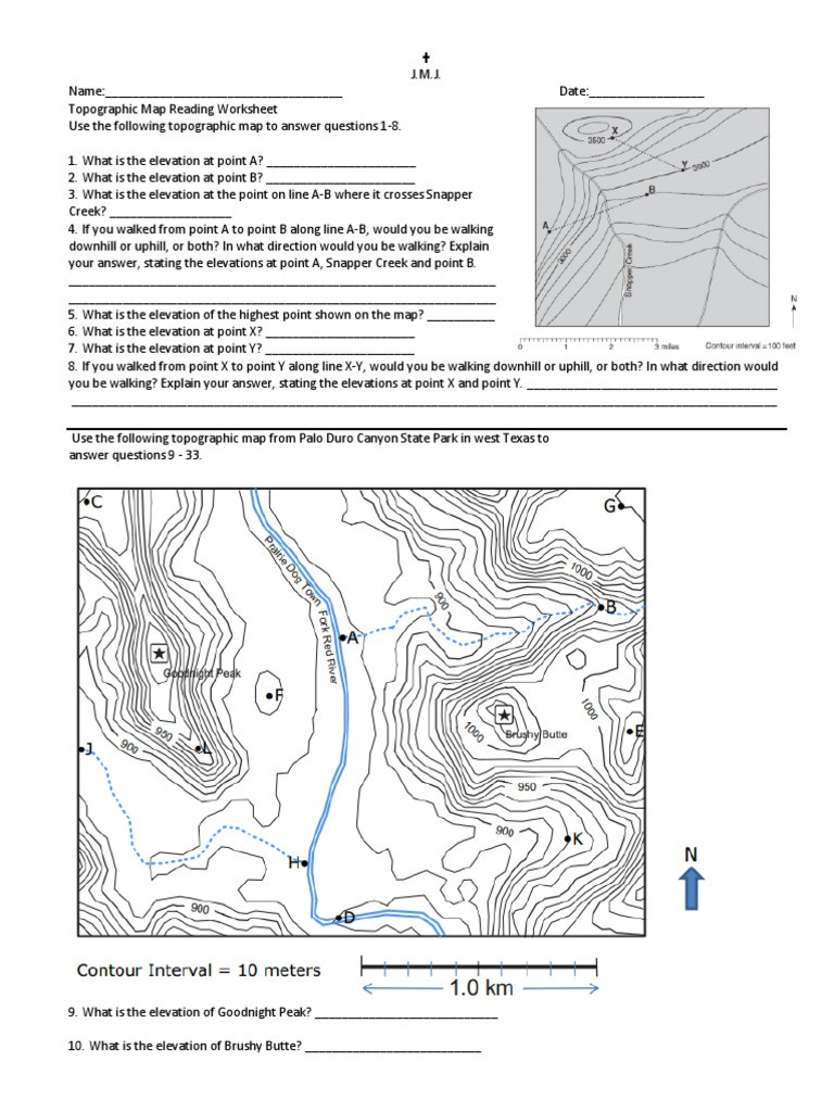Topographic Map Worksheets Middle School topographical Map Worksheet