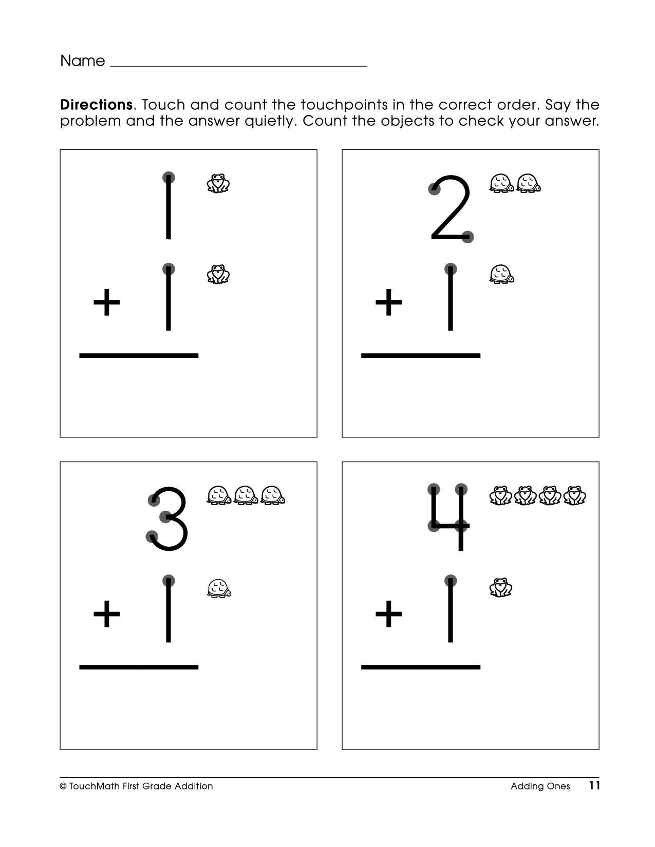 Touch Math Addition Worksheets Free Printable touchpoint Math Worksheets