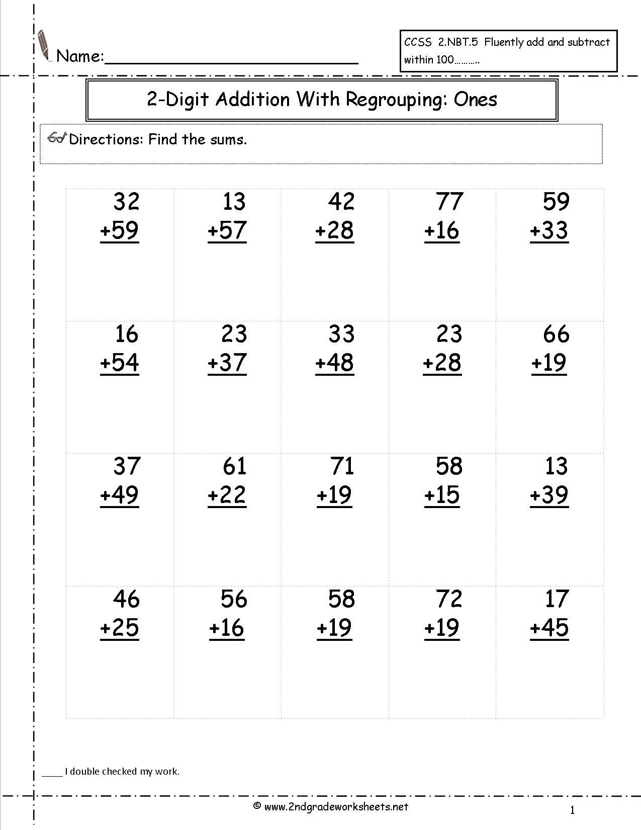 Touch Math Addition Worksheets Two Digit Addition with Regrouping Ones to Tens Place