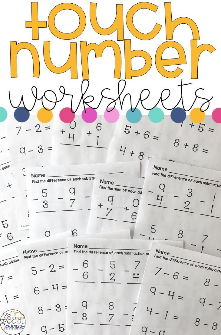 Touch Math Subtraction Worksheets touch Number Addition and Subtraction Worksheets