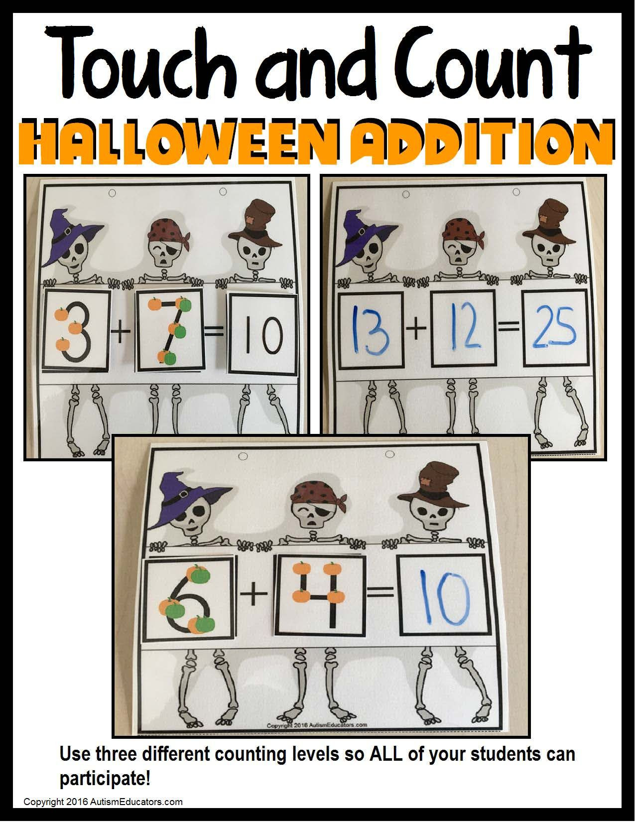 Touch Math Worksheet Generator touch and Count Math – Halloween Addition Using touch Math