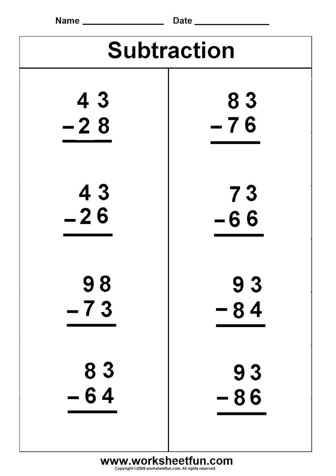Touch Math Worksheet Generator Two Digit Vertical Subtraction 5 1130—1600