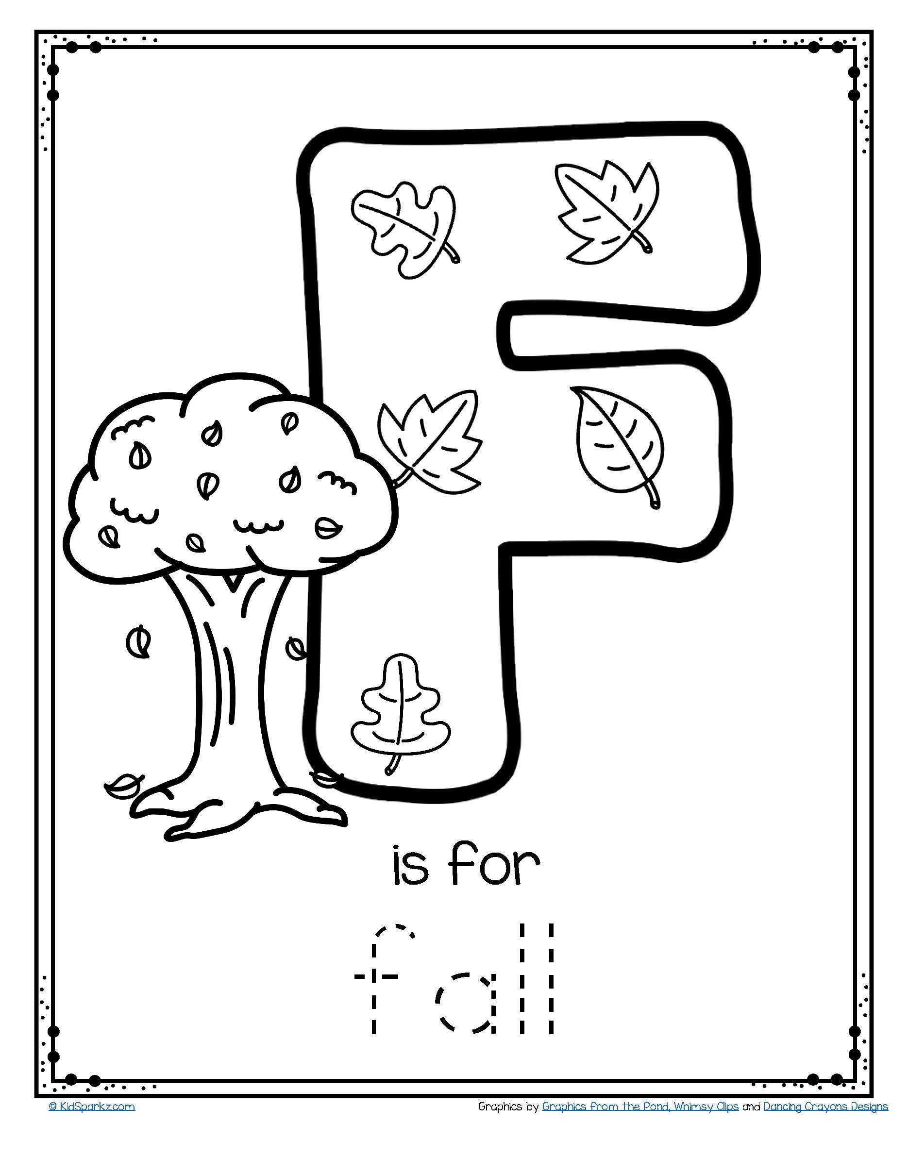 Touch Point Math Worksheets Free is for Fall Trace and Color Letter Printable Alphabet