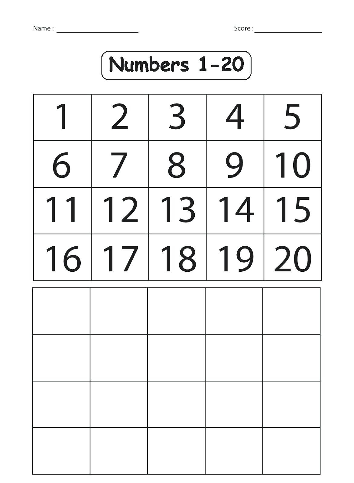 Tracing Numbers 1 20 Printable Number Writing Practice Sheets Number formation Worksheet
