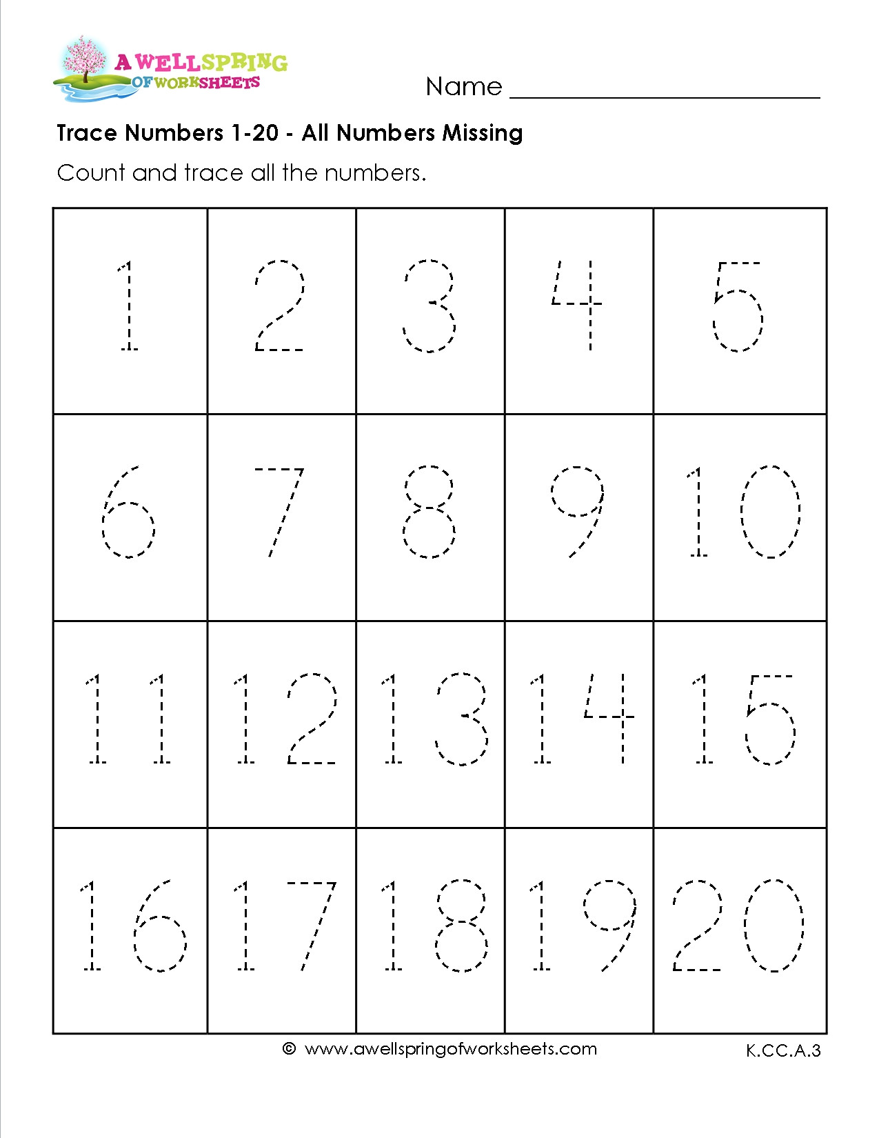 Tracing Numbers 1 20 Printable Practice Writing 1 20 Worksheets