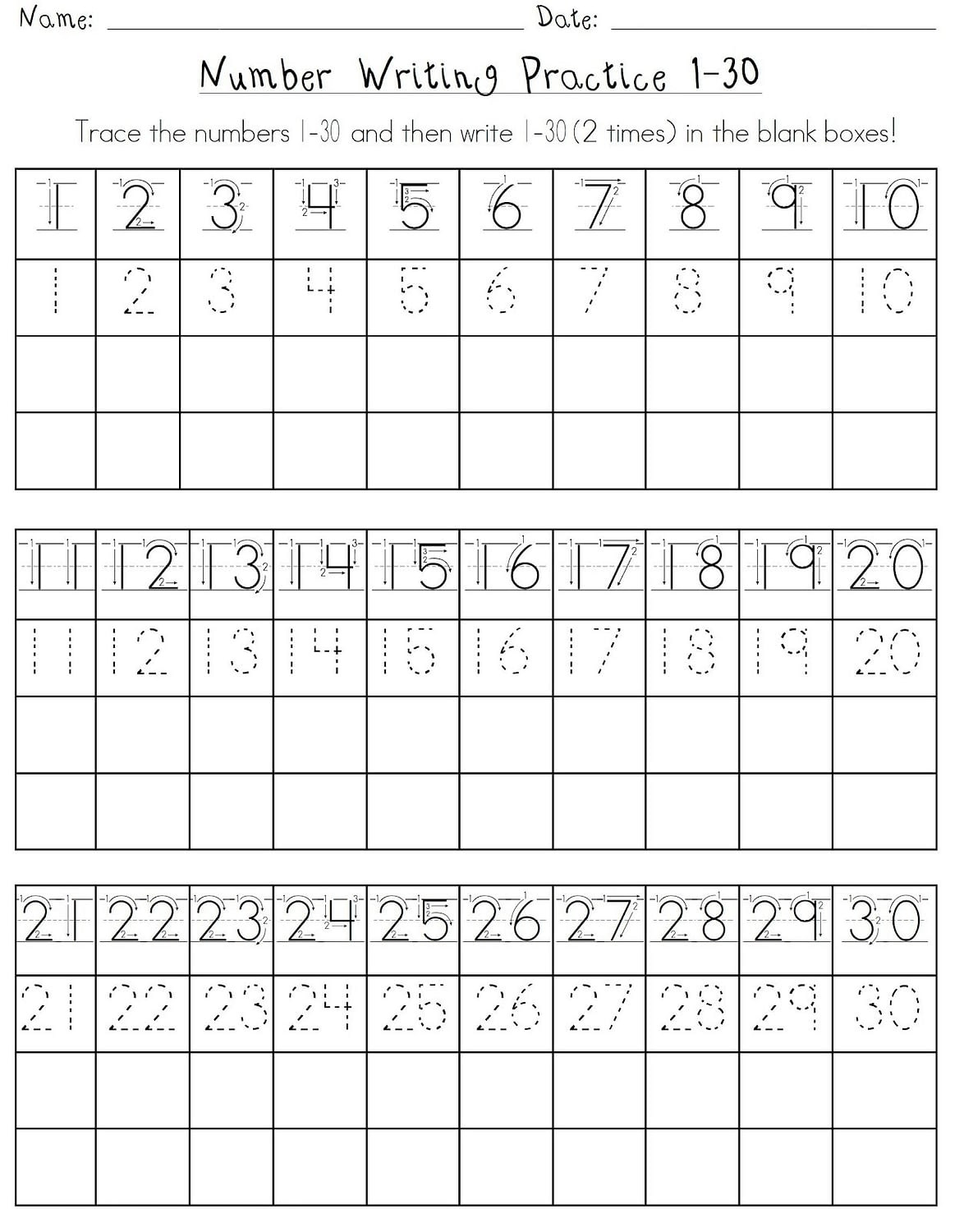 Tracing Numbers 1 20 Printable Printable Number Tracing Worksheets