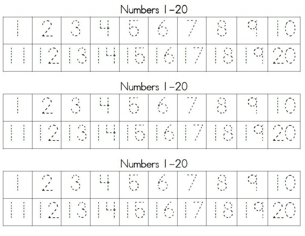 Tracing Numbers 1 20 Printable Trace Numbers 1 20 for Kids