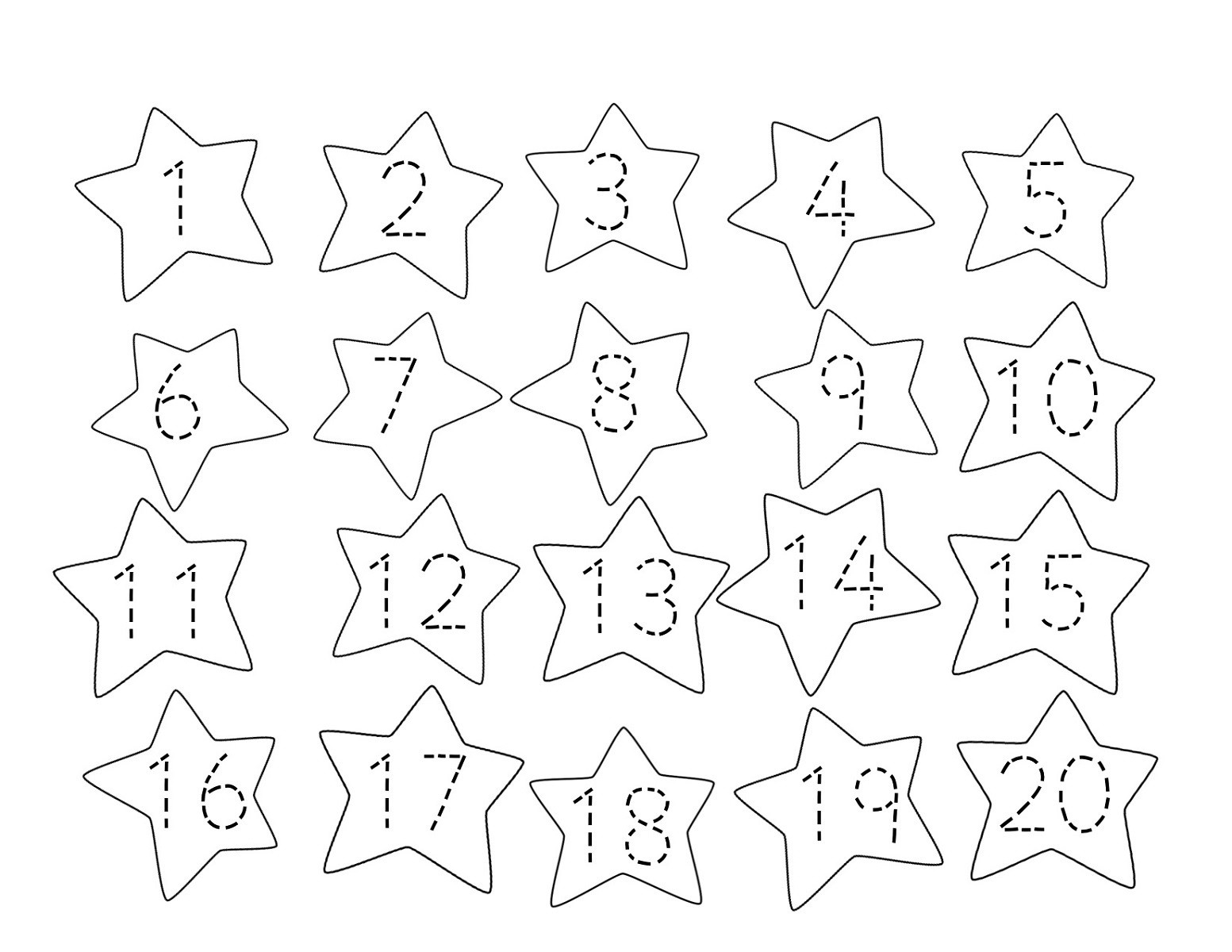 Tracing Numbers 1 20 Printable Trace Numbers 1 20