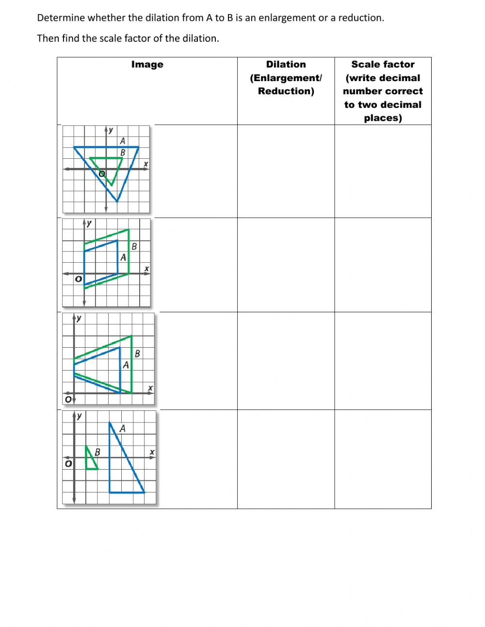 Transformation Math Worksheets Similarity Transformation Interactive Worksheet