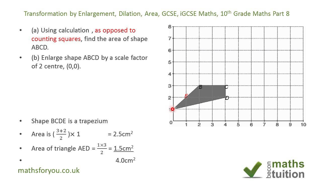 Transformation Math Worksheets Transformation by Enlargement Dilation area Gcse Igcse Maths