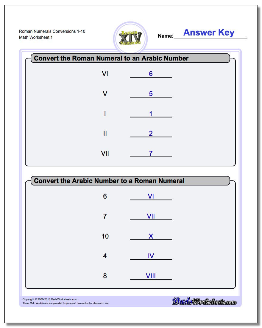 Translation Math Worksheets Roman Numerals