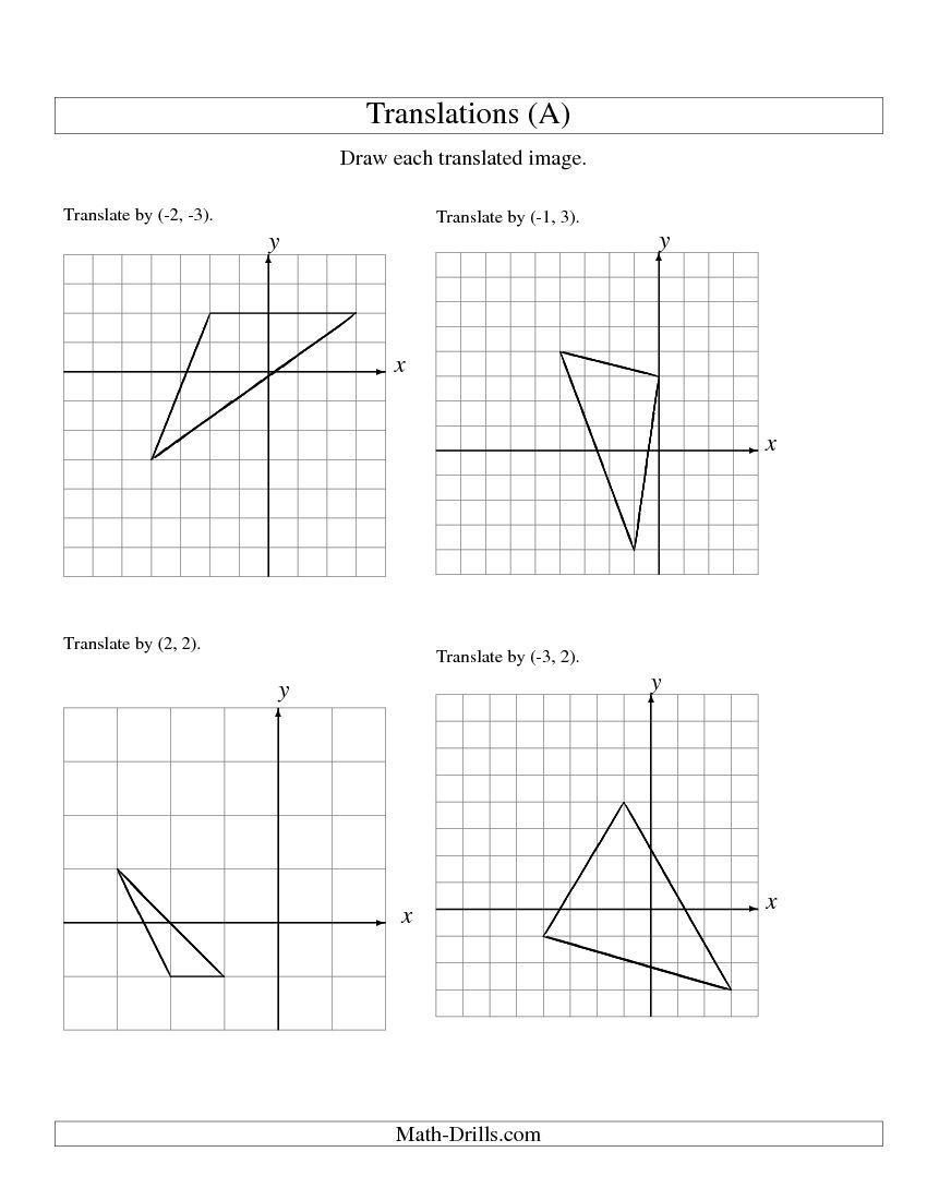 Translation Math Worksheets Translation Of 3 Vertices Up to 3 Units A Math Worksheet