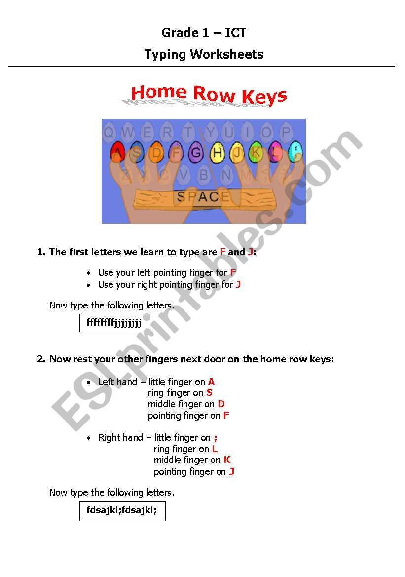 Typing Worksheets Printables English Worksheets Home Row Keys